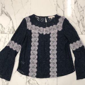 Navy blue lace blouse with bell sleeves